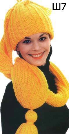 Вязаная шапка-шарф. Модель Ш7
