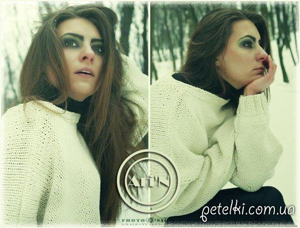 Объемный свитер спицами. Модель А015