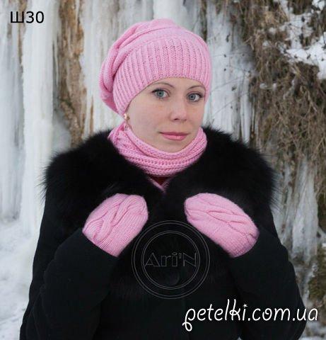 Комплект спицами - берет, шарф
