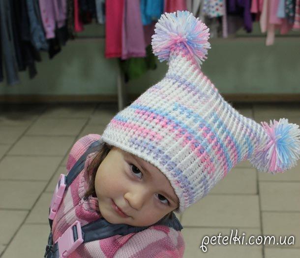 Озорная вязаная шапка. Модель