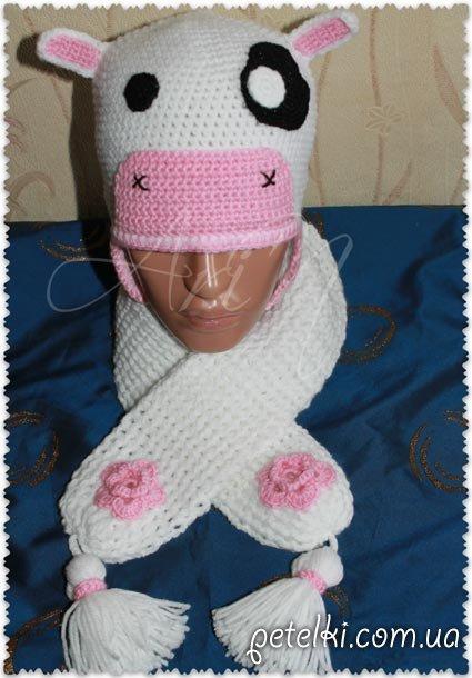 Комплект Коровка - вязаные шапочка и шарфик. Модель Д14