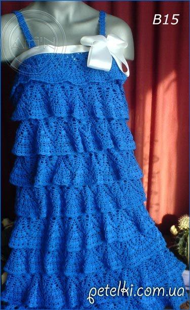 Платье воланами крючком схемы
