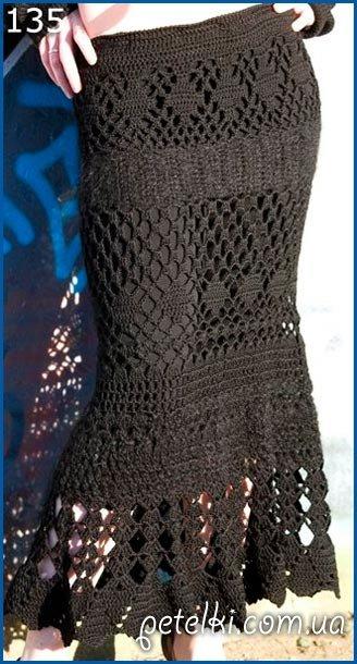 Длинная вязаная юбка крючком.