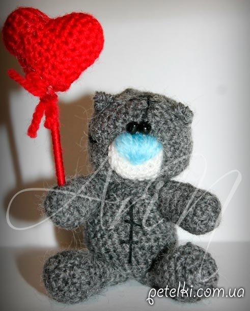 Влюбленный Мишка Тедди, вязаный крючком - на заказ