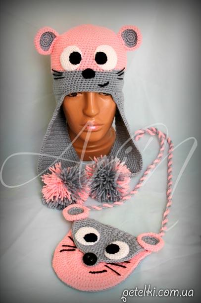 Вязаная шапочка Мышка модель