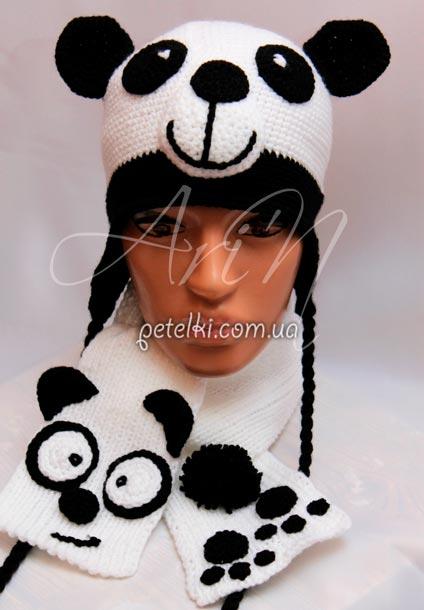 Панда - шапочка и шарфик.