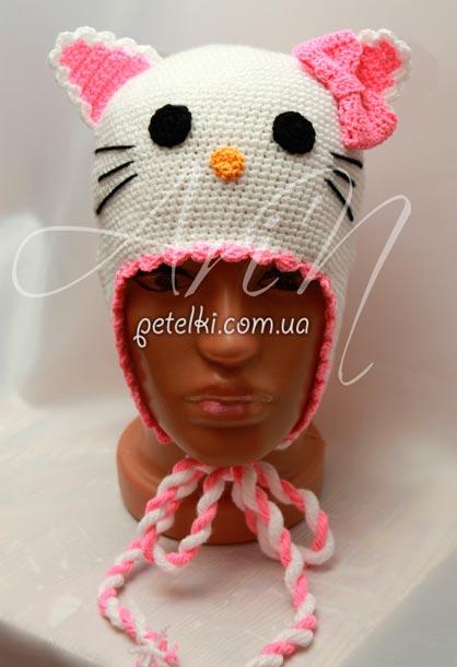 Вязаная шапочка Hello Kitty.