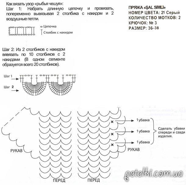 Схема болеро Рыбья чешуя
