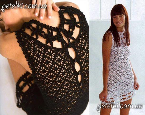 Чёрное платье крючком схема