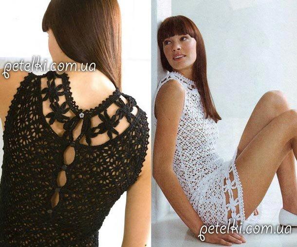 Черное и белое платье крючком