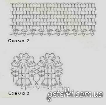 Схема вязания туники-сетки крючком