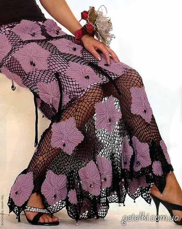 Длинная ажурная юбка крючком схемы вязания