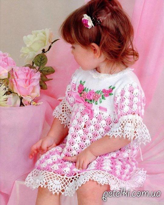Детское нарядное платье крючком. Описание, схема