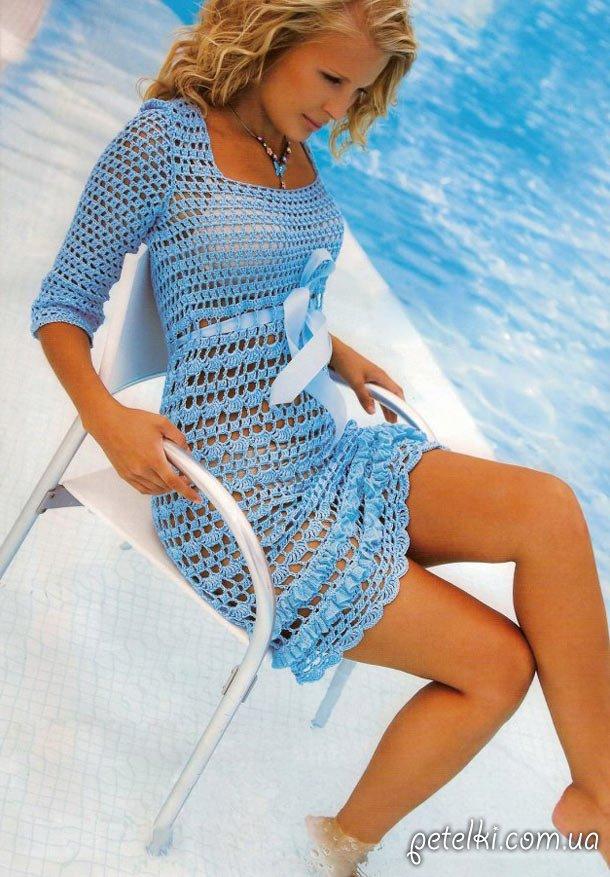 Шикарное ажурное летнее платье крючком. Описание вязания, выкройка