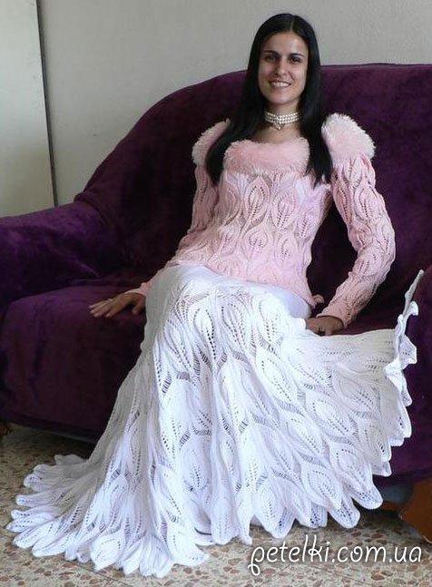 Шикарная длинная юбка спицами