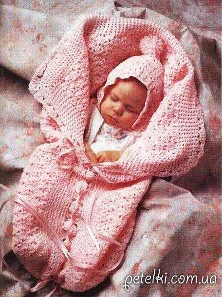 Конверт и чепчик на выписку для новорожденного. Описание, схема
