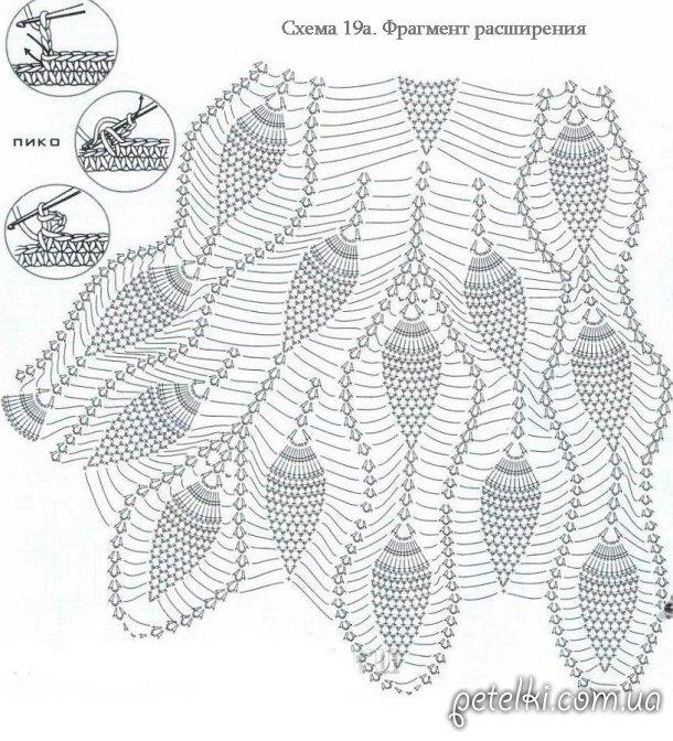 Длинное платье крючком узором Ананас. Описание, схемы, выкройка