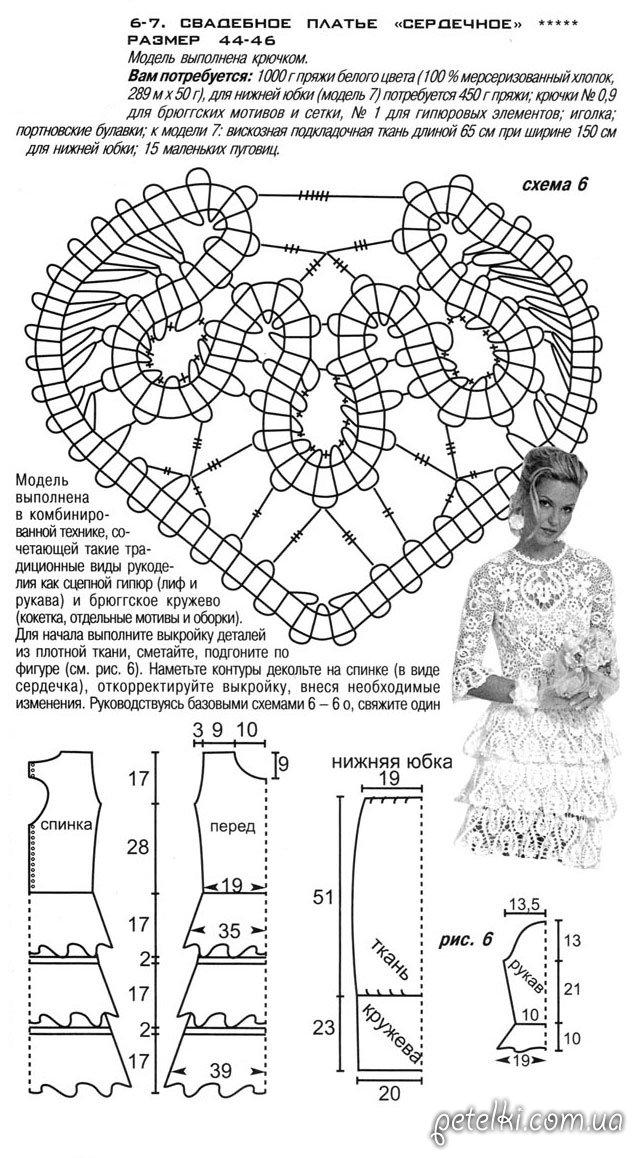 Схемы вязанные крючком для свадебных платьев