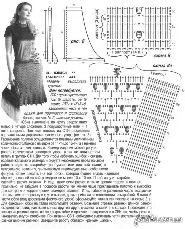 Вязание крючком для женщин юбки с описанием и схемами 8