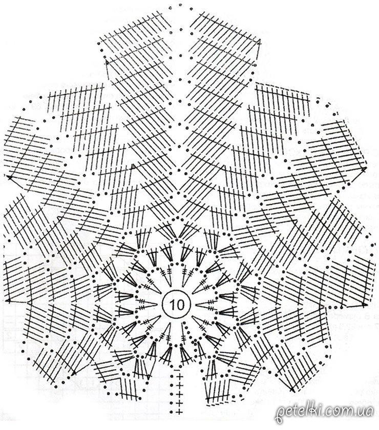 схема длинной вязаной юбки