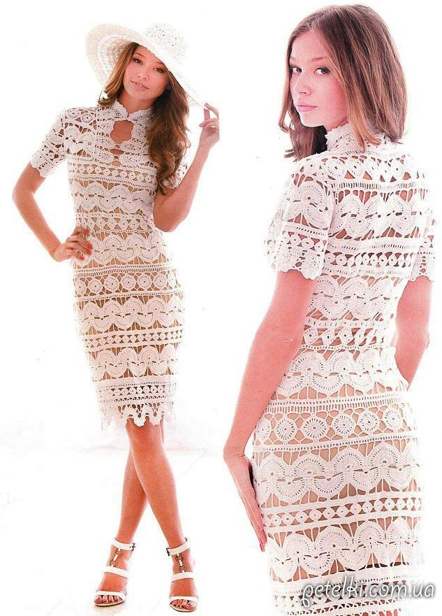 Платье вязаное из кругов крючком