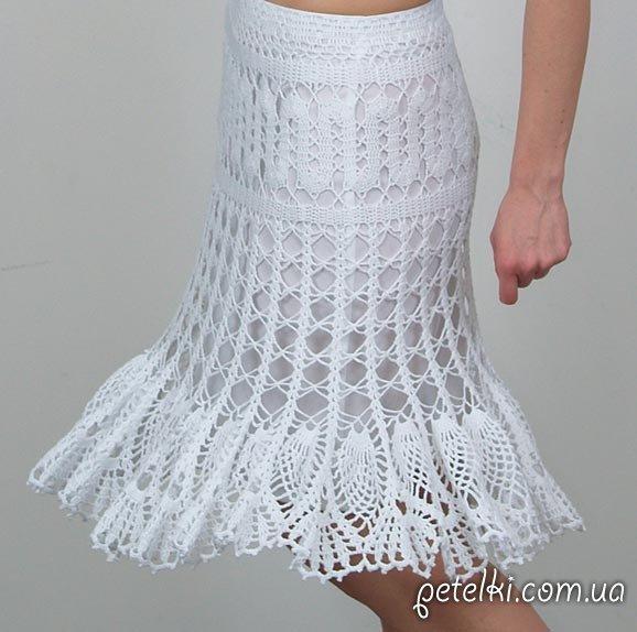 Красивая белая ажурная юбка