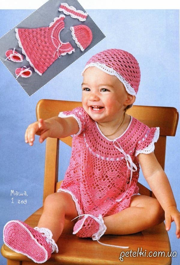 Очаровательный комплект крючком на лето для девочки до года. В нем вашей малышке будет комфортно и не жарко, ведь связан он из хлопковой пряжи