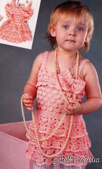 Ажурный сарафанчик на девочку 2 лет. Описание, схема