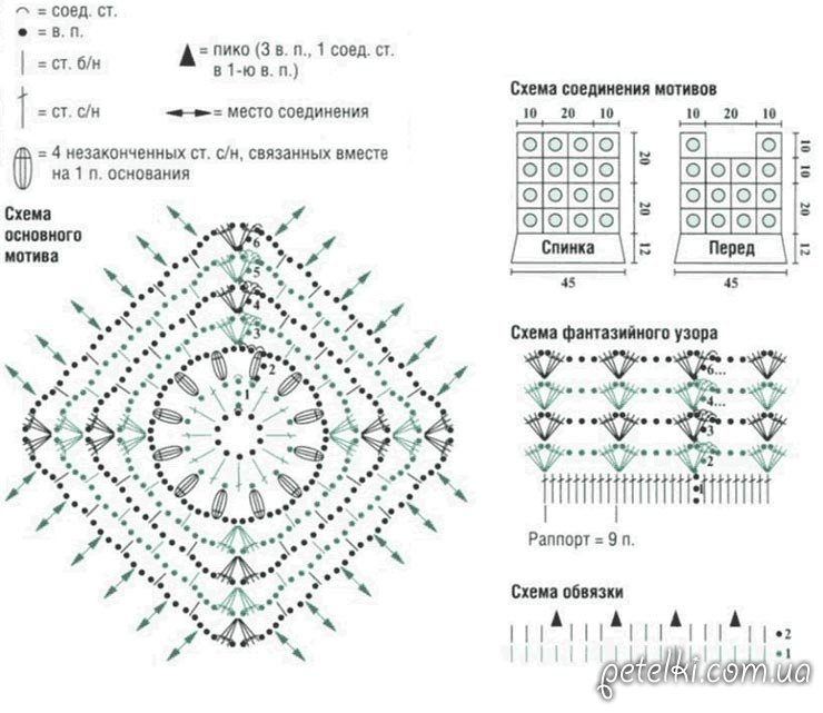 схема квадратного цветочного
