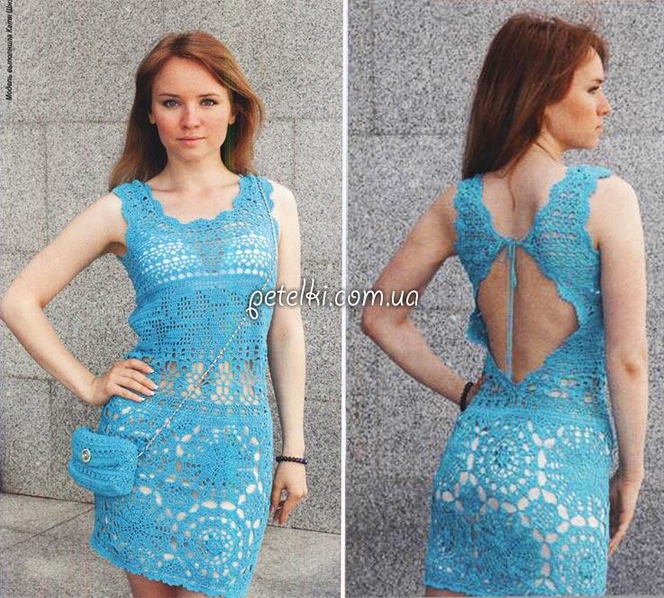 Схемы и описание узоров платья для вязания спицами 46