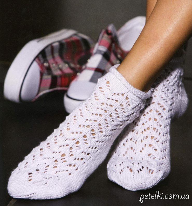 Ажурные носочки спицами.