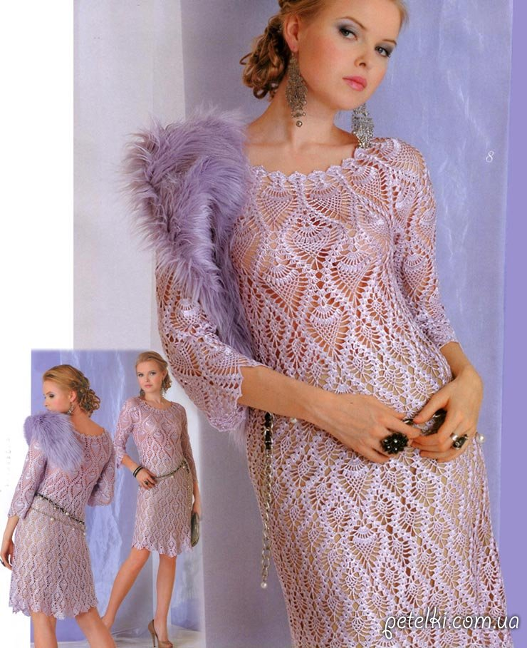 Ананасовое нарядное платье крючком. Описание, схема