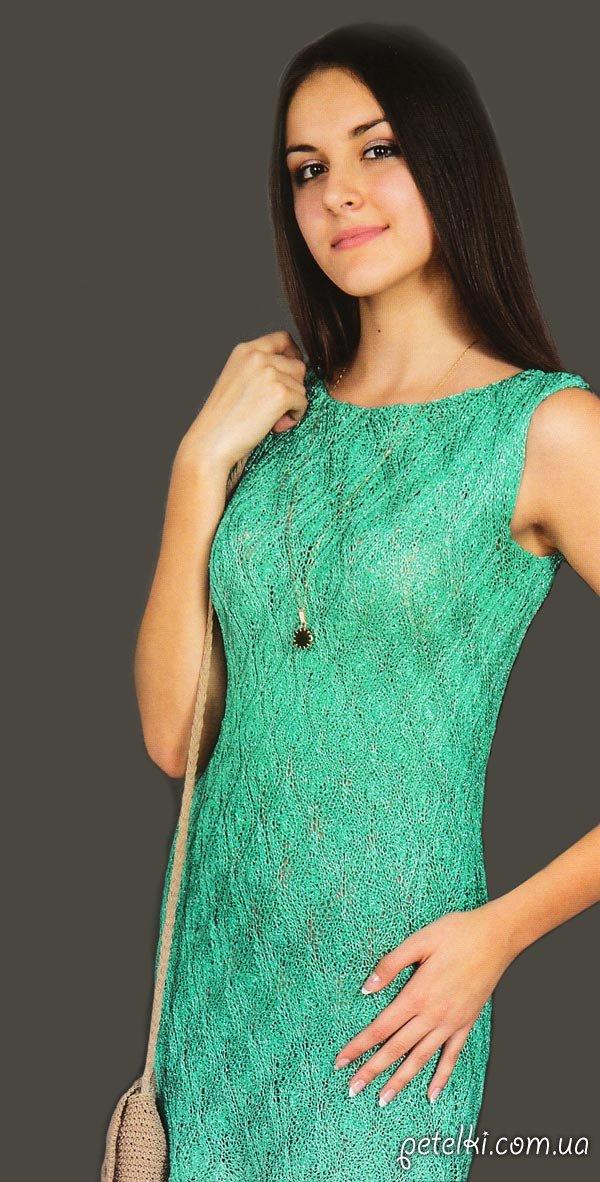 Зеленое платье на спицах. Описание, схема
