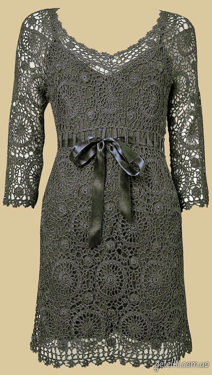Платья из круглых мотивов крючком схемы и описание