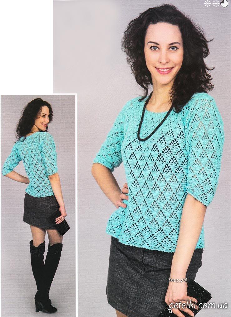 Ажурный пуловер с короткими