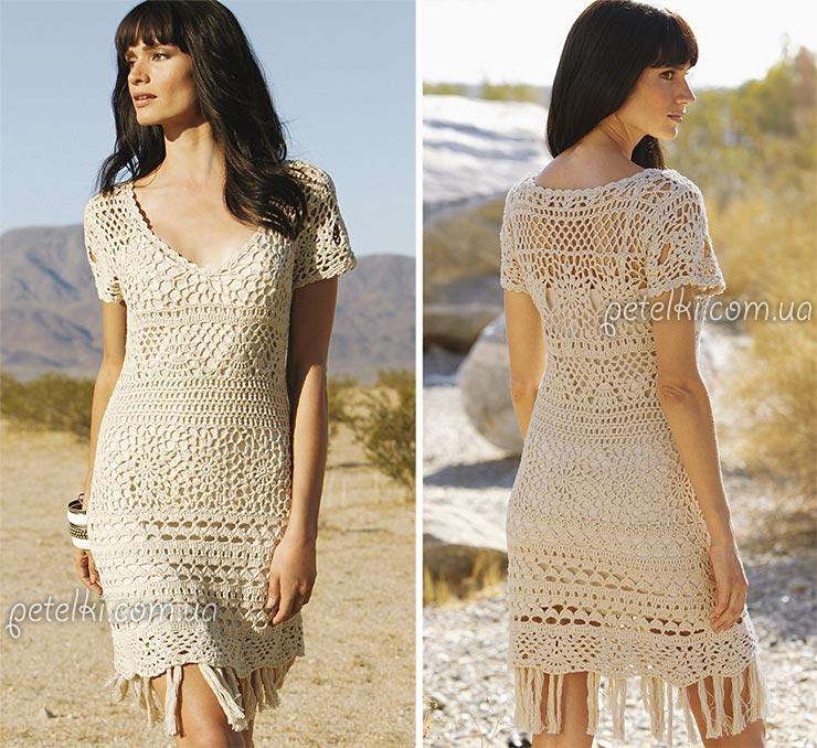 Ажурное платье крючком Баллада Дикого Запада. Много схем, выкройки
