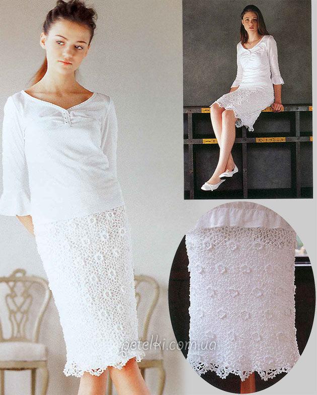Ажурная юбка в цветочки крючком. Схемы