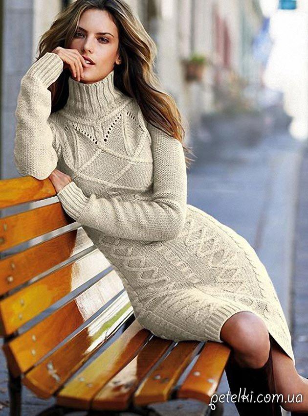 Теплые вязаные платья схемы крючком
