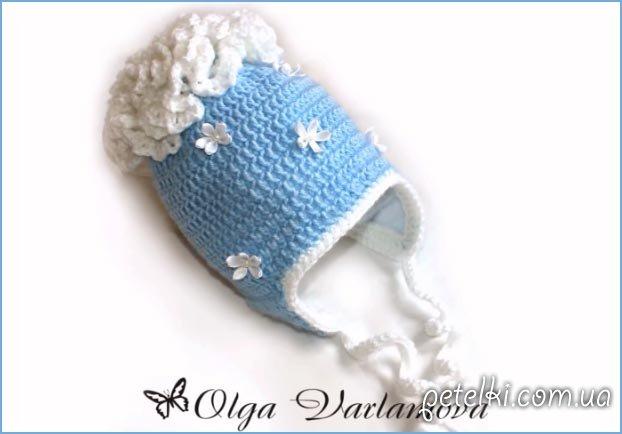 Теплая шапочка крючком. МК на видео от Ольги Варламовой