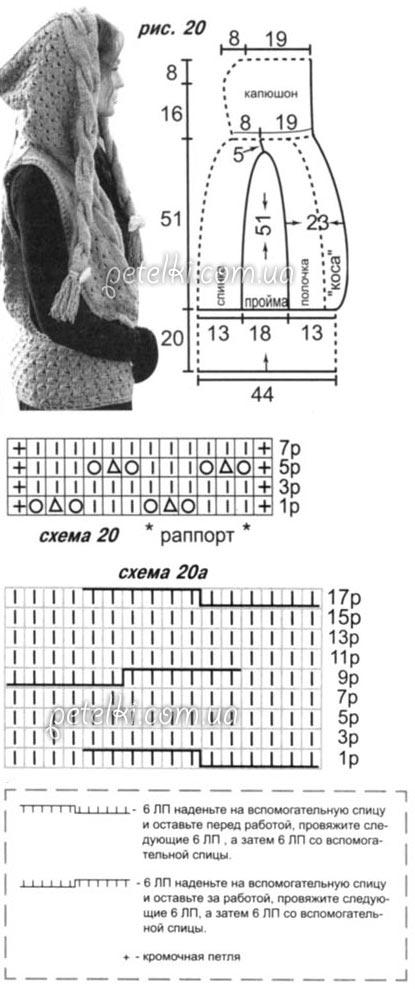 Схема вязания безрукавки с капюшоном спицами 67