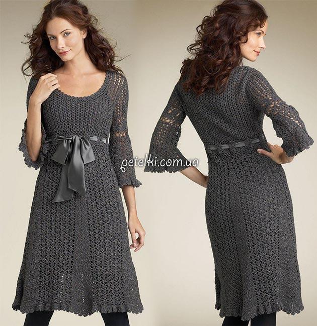 Теплые вязаные платья крючок и спицы