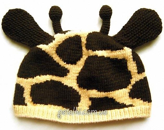 Шапочка Жираф для малыша спицами. Описание вязания, схема