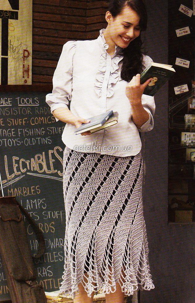 Интересная юбка крючком. Схемы вязания