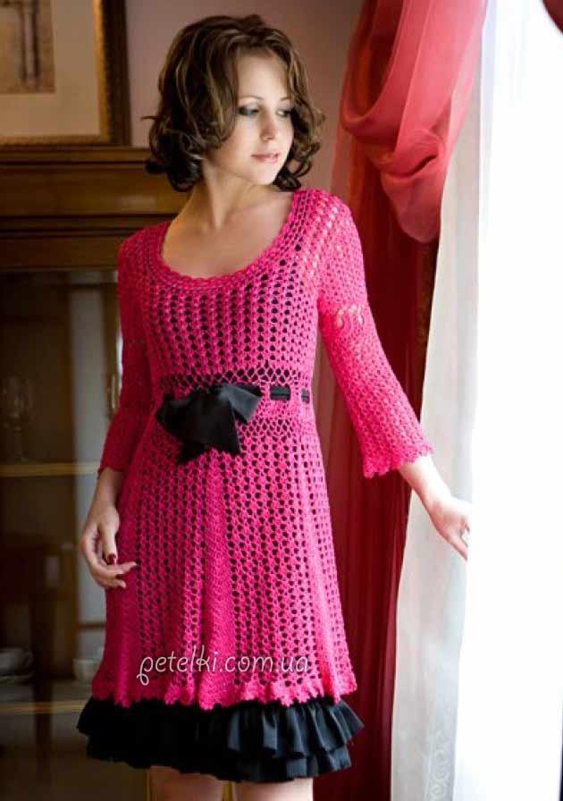 Крючком схема теплого платье