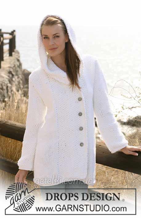 Красивый белый жакет спицами. Описание вязания