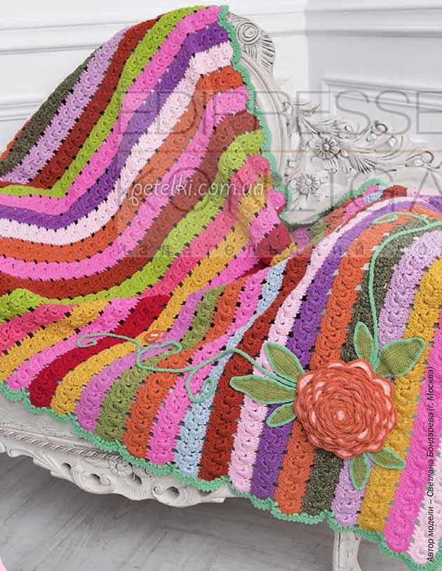 Разноцветный плед из ленточного кружева. Описание вязания, схемы