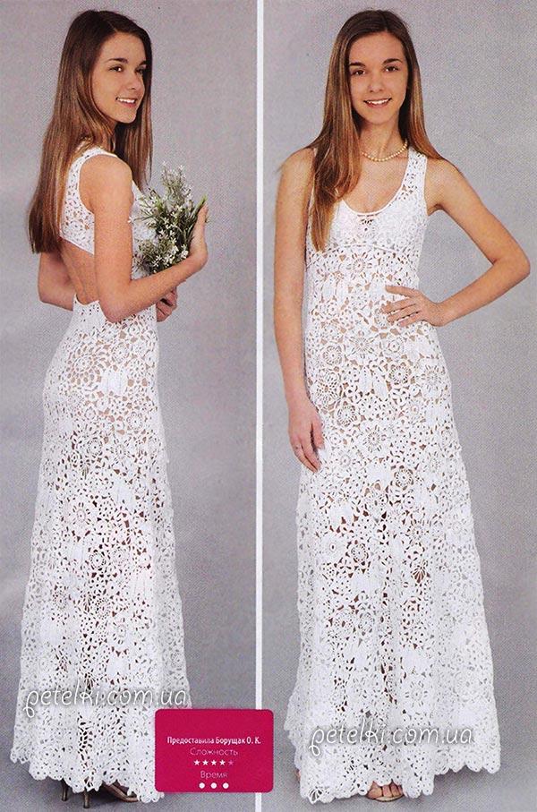 Свадебное платье крючком. Ирландское кружево. Схемы, описание вязания