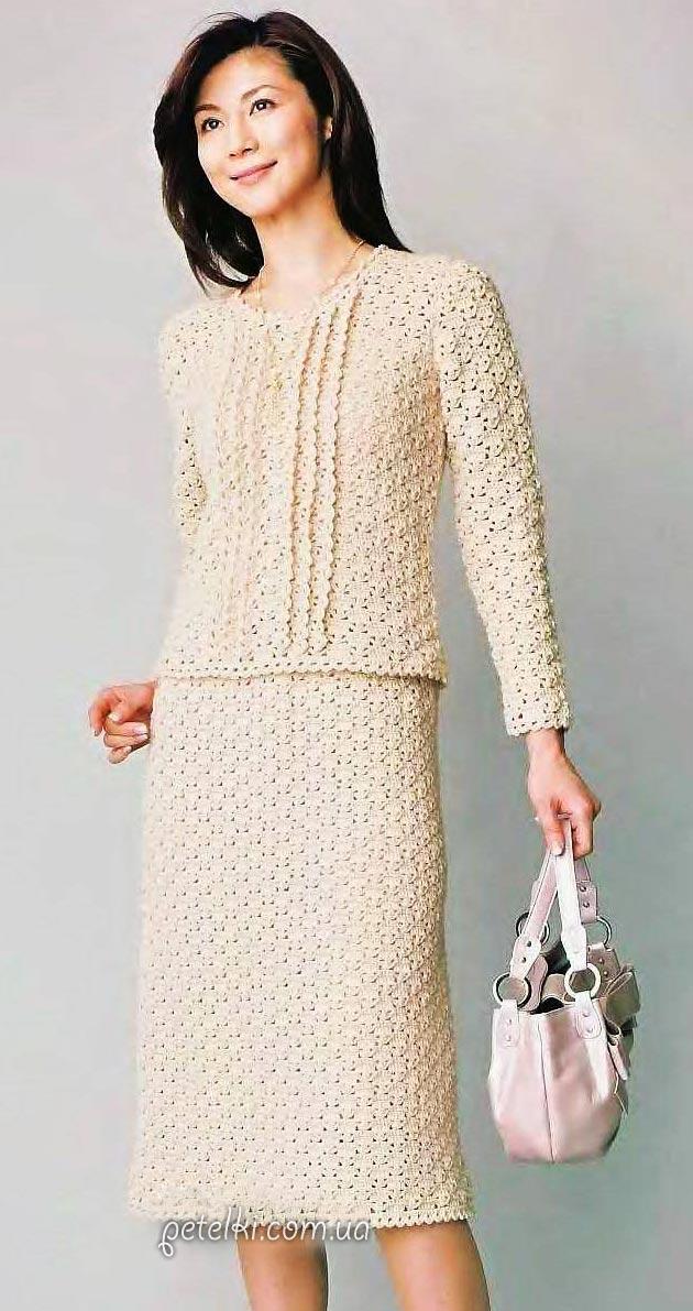 Элегантный костюм крючком - юбка и кофточка. Схемы, выкройки