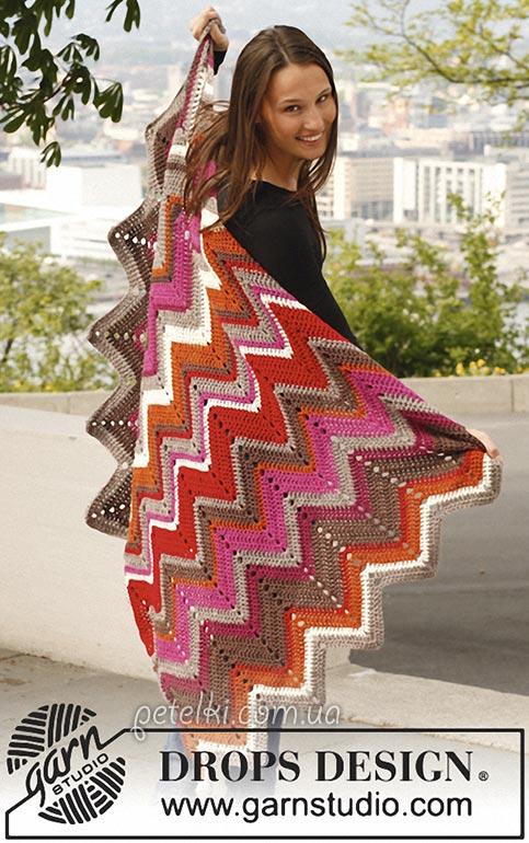 Одеяло зигзагами от DROPS Design. Описание вязания, схема