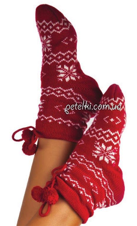 Носки с жаккардовым узором. Описание вязания, схема